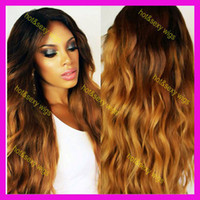 Wholesale Beautiful wig two tone color hair ombre color Front lace color ombre full lace wig density freeshipping