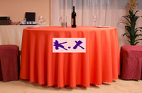 Round wedding table cloths - 250cm Round Orange Color Polyester Table Cloth For Wedding
