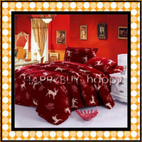 Fleece Fabric other other Christmas deer pattern 4pcs CORAL FLEECE Adult Soft Bedding Set hotsale Gift Free Shipping