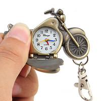 Wholesale Hot selling unique pocket watch Unisex Bronze Motorcycle Style Analog Keychain Watch