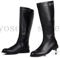 Wholesale Large size fashion british style black knee high boots high quality mens motorcycle shoes work boots genuine leather boots
