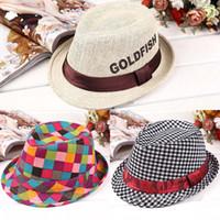 Wholesale British Children Gift Hat Retail Plaid Boys Fedoras Baby Cap Top Fedora Hats MZP016