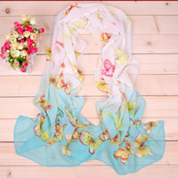 Wholesale 2014 new elegant fashion butterfly printed chiffon long scarf scarves women silk scarf shawl high quality