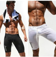 Wholesale 1pcs AQUX Brand casual men compression tight black mens lowwaist sports boxer sexy gym fashion summer new sweatpants gay