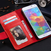 TPU frames for pictures - Hot Selling Case For Samsung Galaxy S5 i9600 Flip Leather Cover With ID Credit Card Slots Picture Frame Stand Holder RCD03814