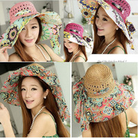 Wholesale Women s Sunhat New Oversized Outdoor Shade Canopies Protect Neck Straw Beach Chiffon Hat Crowns M066