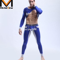 Wholesale 1 set mens pajamas coat long pants night sleeping wear modal sexy fastoin sleepwear Manview brand yoga sport gay wear underwear