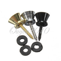 Wholesale 10 Pair Electric Acoustic Guitar Bass End Pin Strap Button Cushion Screw Lock Metal Alloy Gold Sliver Black