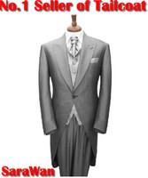 Wholesale CUSTOM MADE TO MEASURE Tailored men s BESPOKE tuxedos tails grey men suit tailcoat men wedding suit Jacket Pants Vest Tie Pocket Square