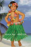 Wholesale sets Hawaii Hula skirt set skirt anadem headband bracelet children Hula dance set many colours
