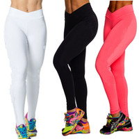 Wholesale 2014 High Waist Candy Colours Solid Leggings Women s Sports Pants Fashion Elastic Streched Yoga Fitness Gym Leggings