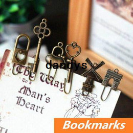 Wholesale 16 Vintage Metal Bookmarks Bronze color Paper clip Page Holder Zakka stationary office materials School supplies dandys