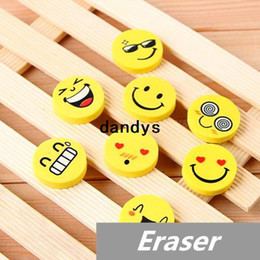Wholesale 120 Smile face Erasers rubber for pencil kids funny cute stationery Novelty eraser Office school supplies dandys