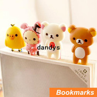 Wholesale 24 cute Rilakkuma bookmark for Book Page Holder Carton book marker stationary office materials School supplies dandys