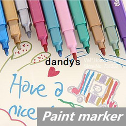 Wholesale 60 Metallic color pen Paint marker Highlighter for art brush foto Kawaii Stationery novelty copic School supplies dandys