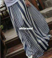 Chiffon Long Yes Casual Womens Long Skirts Irregular Stripes Full-length Maxi Chiffon