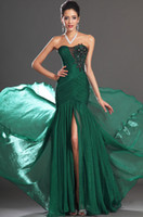 Wholesale Vestiond De Festa Elegant Cheap Hot Sale Sexy Split Arrival Floor Length Chiffon Emerald Green Mermaid Prom Dress Evening Gown