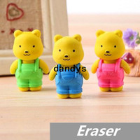 Eraser Rubber Yellow 30 pcs Lot Teddy bear Erasers rubber for pencil kid Removable BIB PANTS Novelty Toy gift stationery Office school supplies 6433, dandys