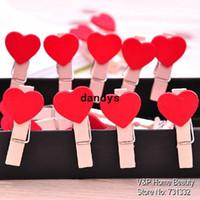 Yes wooden hearts - Wooden Red Heart Paper clips for foto Memo Clamp Wedding chalkboard blackboard Office accessories Zakka Novelty household dandys