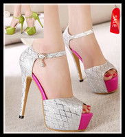 Wholesale glitter silver pink peep toe high heel pump green heels sandals prom dress wedding bridemaid shoes size colors new