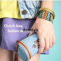 Wallets unisex Canvas 4 pcs Lot Tassel clutch bag Wallets Indian style women Handbag Canavas Coin purse Key pouch Change purse Storage bag case 6610, dandys