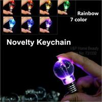 Wholesale 2 Key chain Rainbow color key ring Flash Led bulb design Novelty zakka gift dandys