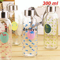 Wholesale 300ml Glass water bottle Animal portable cup Tasteless hermetic drinkware outdoor fun sports Novelty household Gift dandys
