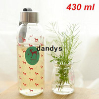 Wholesale 430ml Glass water bottle Animal portable cup Tasteless hermetic drinkware outdoor fun sports Novelty household Gift dandys