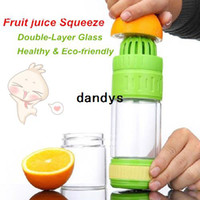 Glass glass water bottles - Double layer Glass water bottle New Magic Fruit juice squeezer Tea cup high quality drinkware Novelty household dandys
