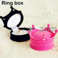 Wholesale Ring Box Crown Jewelry box Wedding ring box Container Trinket Storage Pink Casket Girl favor Decoration Christmas gift TB8717 dandys