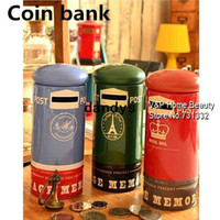 Wholesale 2 Tin Vintage mailbox Coin Bank metal atm Money box Moneybox Piggy bank Decorative Novelty household gift zakka dandys