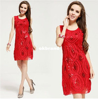 Wholesale 2014 Chinese Festive Red Paillette Rope Flower Formal Tank Sequin dresses Elegant Sexy O neck Party Club Dress Good quality