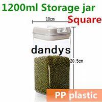Wholesale 1200ml Plastic Canning jars Sealing jar for candy fruit milk tea Kitchen Storage and organizer Ikea novelty households TB8708 dandys