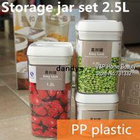 Wholesale 2500ml Plastic jars and lids set Canning jars Canister Storage jar Mason Jars Casket Tea container Caning Sealing Violetta dandys