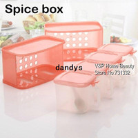 boxes for spices - 4 box Kitchen Plastic Spice box Four container set for Sauce sugar salter pepper cruet Spice seasoning Condiments dandys