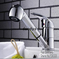 Wholesale TB2026 Pull out down Spout Spray head full brass bathroom basin faucet tap Chrome Finished mixer Lavabo torneira banheiro dandys