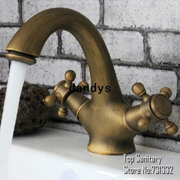 Wholesale Antique Chinese Bronze Brushed Double handle European Vanity vintage vessel Bathroom Basin Faucet Mixer hansgrohe torneira dandys