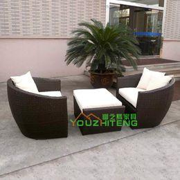 Wholesale Bamboo rattan sofa outdoor furniture garden sofa set foot washes imitation rattan sofa clubhouse balcony
