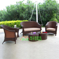 Foshan quiet Teng Furniture Plastic Outdoor Bamboo rattan outdoor furniture garden sofa rattan sofa set imitation of Chinese leisure sofa combination