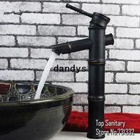 Wholesale 3 sections Oil rubbed bronze Black Bathroom Bamboo basin sink Mixer faucet tap spout hansgrohe cozinha torneira banheiro dandys