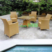 Wholesale Outdoor Furniture Villa imitation rattan outdoor tables and chairs ensemble hotel leisure clubs PE rattan cafe