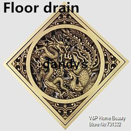 Wholesale 3 inch dragon amp phoenix cover Luxury Antique copper Floor Drain Vintage Linear shower drain Filter bathroom accessories dandys