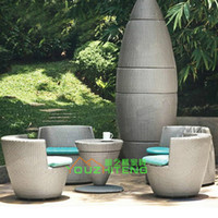 Wholesale Outdoor tables and chairs Villa Packs PE rattan imitation balcony drinking tea cafe bar outdoor recreation