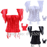 gothic clothing - Red Black White Puff Sleeve Corset Top Bridal lingerie corset gothic clothing body shaper club bodysuits for women LZ4064