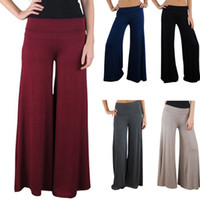 Pants palazzo pants - 2014 New Live Women s Palazzo Pants Vintage Womens Career Slim High Waist Flare Wide Leg Long Pants Palazzo Trousers