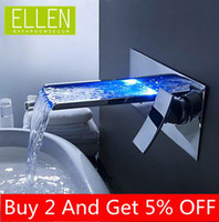 LED Chrome Ceramic Shipping in 24 Hours Bathroom Mixer Tap Color Changing LED Waterfall Wall Mount Bathroom Sink Faucet
