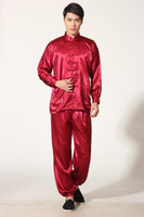 Wholesale Spring Tai chi uniform Mens kung fu suit tradition kungfu clothing for man Martial Art Jacket Pants Set Red M0048 C