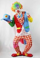 Wholesale Cosplay Adult Clown Costumes Clown Clothes Coat Trouses Mask Wig Glove Bow Tie Hat Shoes