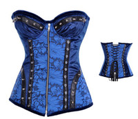 Women Corset & Bustier Christmas New Arrival High Quality Women Intimates Blue Full Steel Bone Overbust Corset With Zipper ,Sexy Lingerie