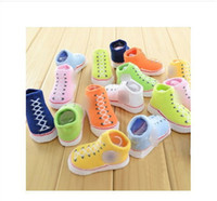 Wholesale Lovely Style Colors Infant Baby Shoe Socks Newborn Girls Boys Crib Shoe Bootie Socks Kids Shoe Socks With Boxes pairs H0471